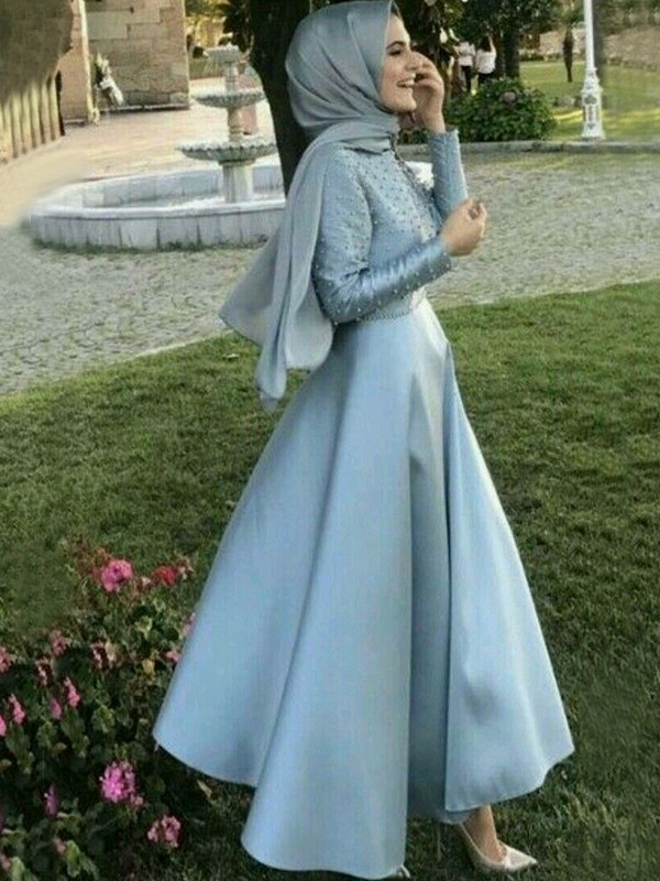 0abf035abe A-Line Princess Long Sleeves Scoop Floor-Length Beading Satin Muslim Dresses