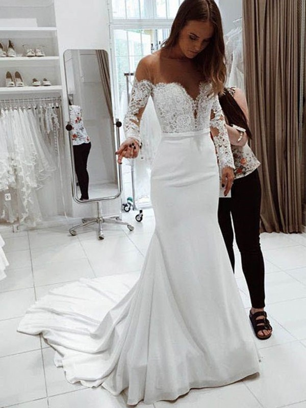 Trumpet Mermaid Off The Shoulder Long Sleeves Court Train Lace