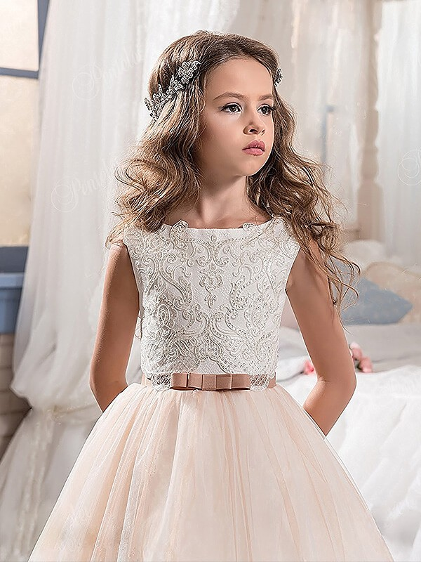 1a24d9d64 ... Ball Gown Jewel Sleeveless Lace Floor-Length Tulle Flower Girl Dresses