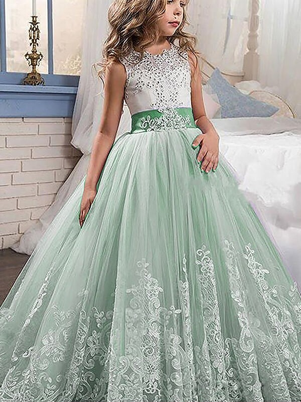 Ball Gown Lace Jewel Sleeveless Sweep Brush Train Tulle Flower Dresses