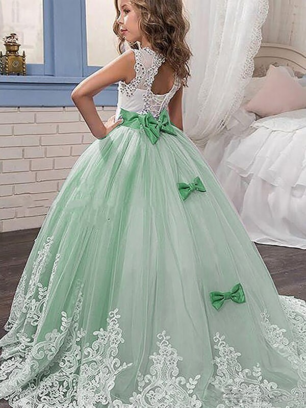 e6355288c58 Ball Gown Lace Jewel Sleeveless Sweep Brush Train Tulle Flower Girl ...