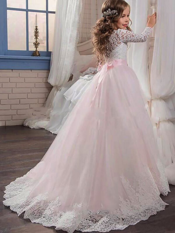 89ffb5e40 Ball Gown Lace Jewel Long Sleeves Sweep Brush Train Tulle Flower ...