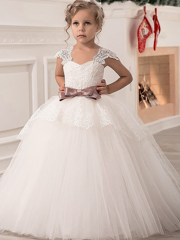 b0b7e448d Ball Gown Sash/Ribbon/Belt Straps Sleeveless Floor-Length Tulle Flower Girl  Dresses