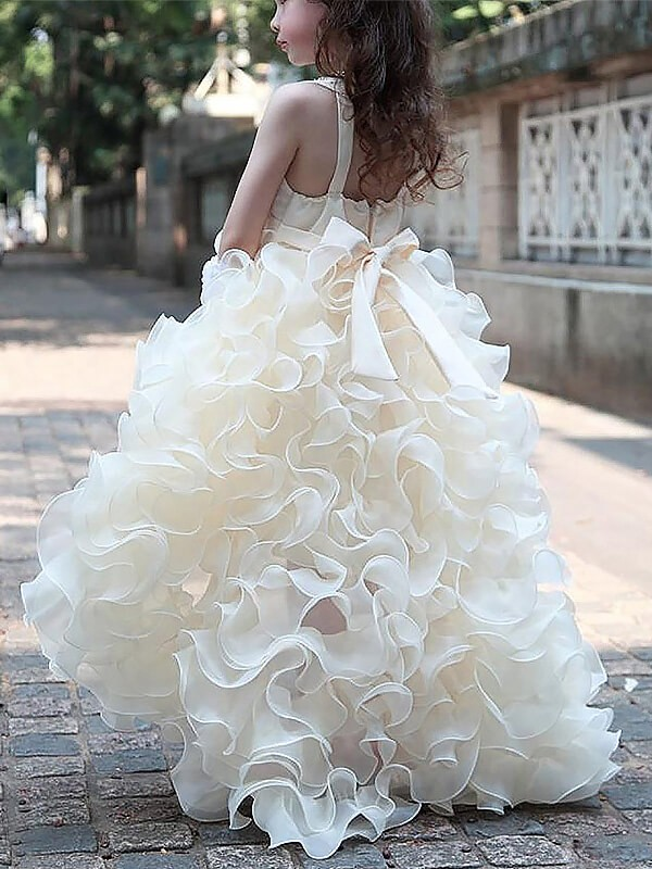 af282b78664 A-line Princess V-neck Sleeveless Asymmetrical Organza Ruffles Flower Girl  Dresses