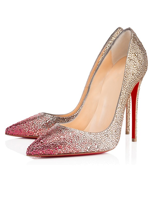 3dcaf889a74 Women s Sparkling Glitter Closed Toe with Rhinestone Stiletto Heel High  Heels