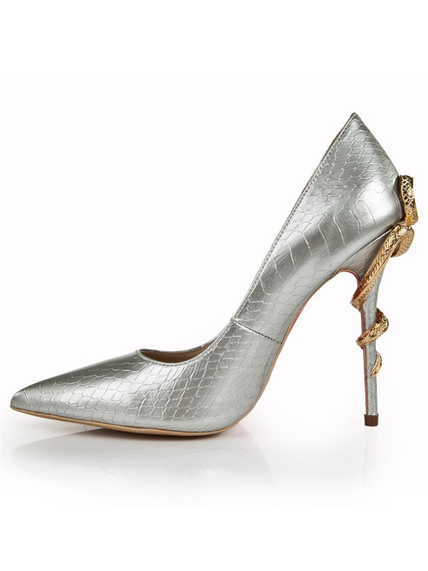 917087635ab Women s Patent Leather Stiletto Heel Silver Closed Toe With ...
