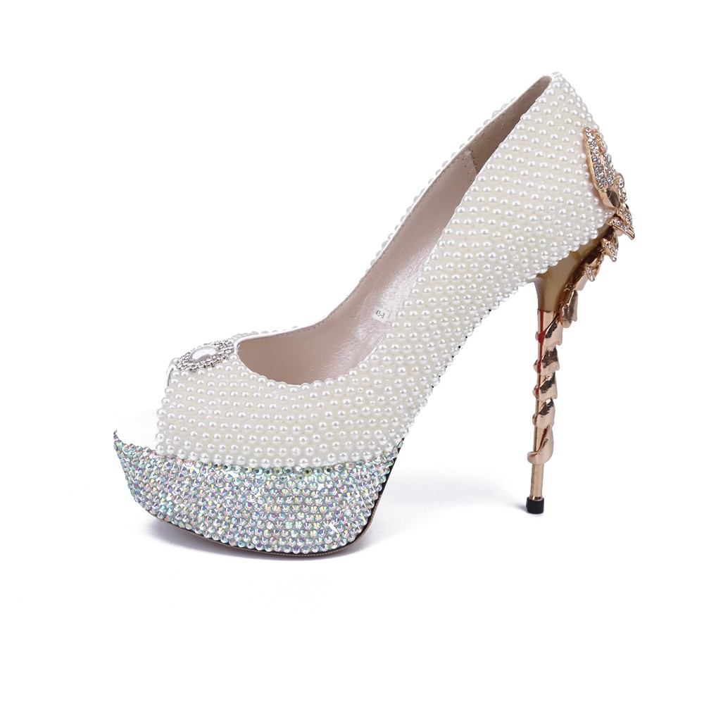 47a2fd177625 Women s Stiletto Heel Platform Patent Leather Peep Toe With Pearl White  Wedding Shoes