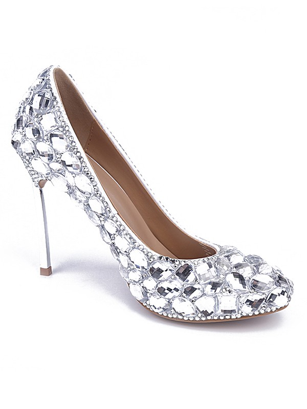 33c91dc17 Women s Patent Leather Closed Toe Stiletto Heel With Rhinestone Silver  Wedding Shoes