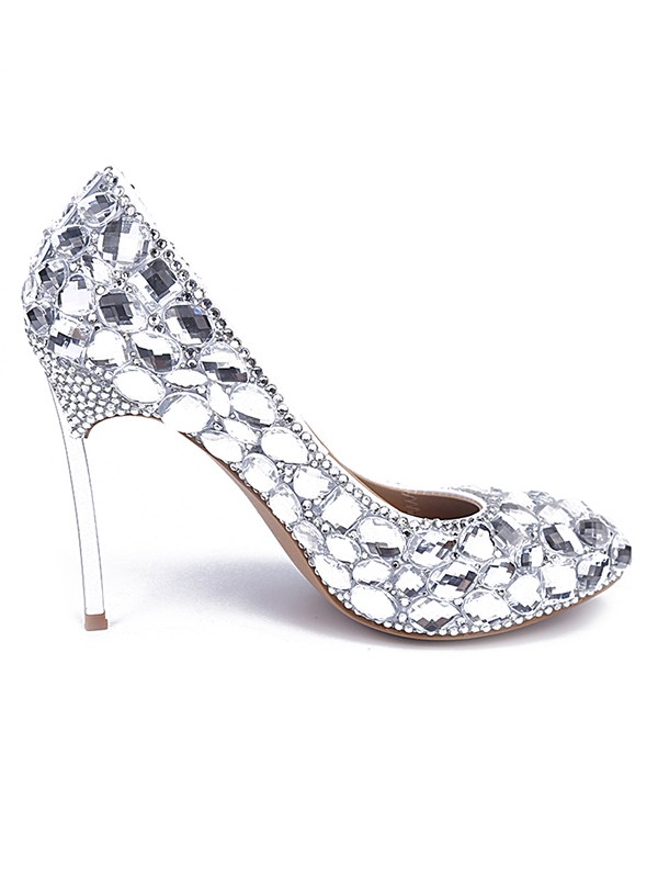8ea04c5c303 Women s Patent Leather Closed Toe Stiletto Heel With Rhinestone Silver  Wedding Shoes - Promhoney Online