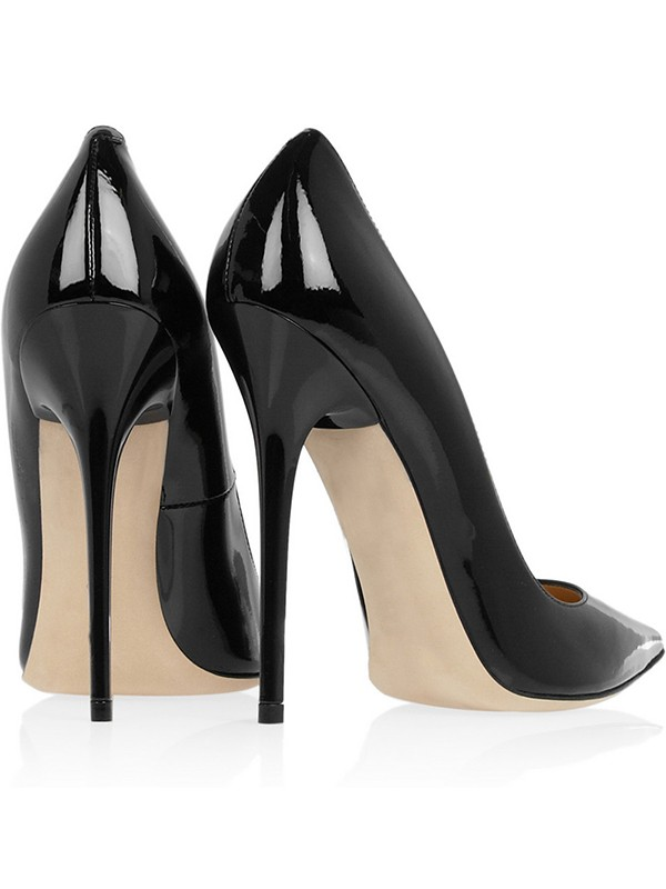 6518c31a28d0 Women s Black Patent Leather Closed Toe Stiletto Heel Office High ...