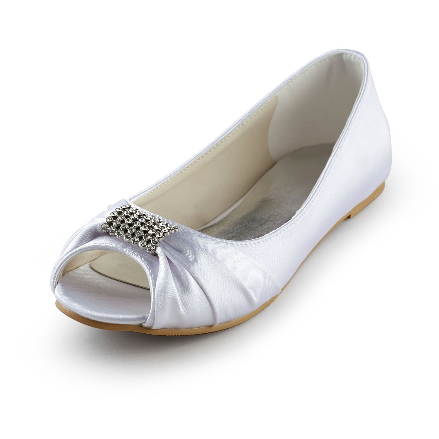 7082eac8f56 Women s Satin Flat Heel Peep Toe Sandals White Wedding Shoes With Rhinestone