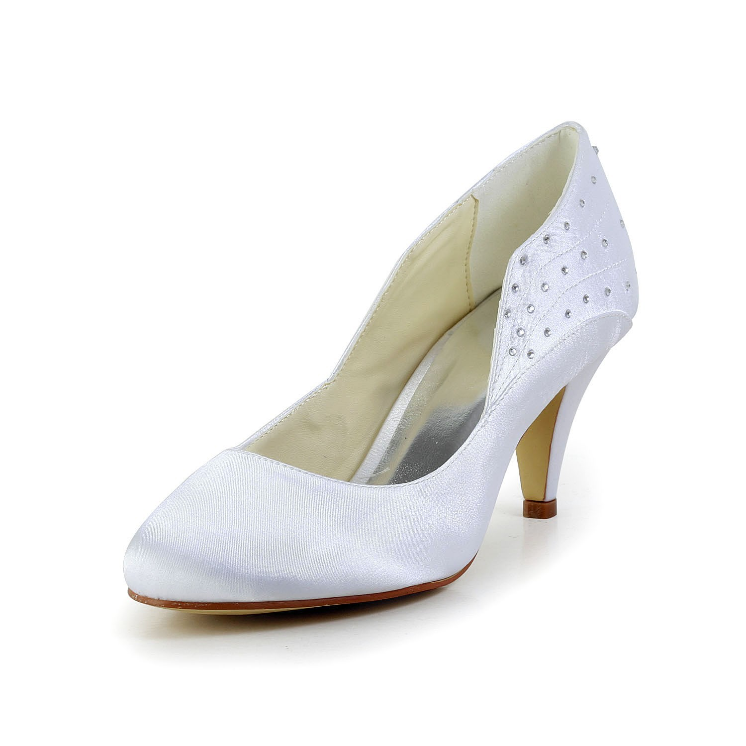 918e5ef64 Women s Simple Satin Closed Toe Cone Heel White Wedding Shoes With  Rhinestone