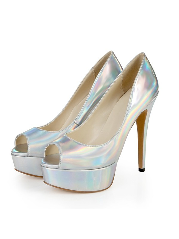 61b8b233937c Women s Patent Leather Peep Toe Platform Stiletto Heel Silver Wedding Shoes