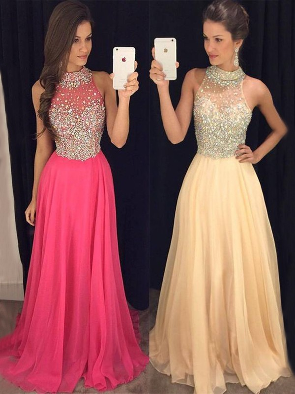 240b3842fc A-Line Princess Halter Sleeveless Floor-Length Beading Chiffon Dresses