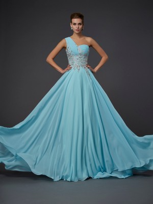 A-Line/Princess Ruffles One-Shoulder Sleeveless Floor-Length Chiffon Dresses