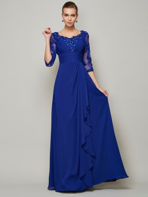 A-Line/Princess Lace Scoop 3/4 Sleeves Floor-Length Chiffon Mother of the Bride Dresses