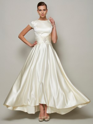 A-Line/Princess Beading Scoop Short Sleeves Floor-Length Satin Mother of the Bride Dresses