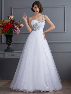 Ball Gown Beading One-Shoulder Sleeveless Floor-Length Elastic Woven Satin Dresses