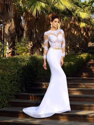 Sheath/Column Applique Scoop Long Sleeves Court Train Satin Wedding Dresses