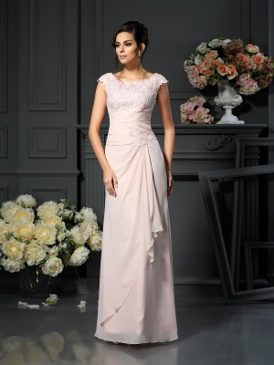 A-Line/Princess Lace Scoop Sleeveless Floor-Length Chiffon Mother of the Bride Dresses