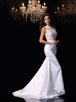 Trumpet/Mermaid Applique High Neck Sleeveless Chapel Train Satin Wedding Dresses