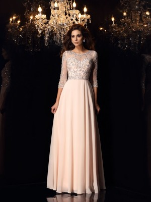 A-Line/Princess Beading Scoop 3/4 Sleeves Floor-Length Chiffon Dresses