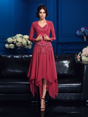 A-Line/Princess Applique V-neck Sleeveless Asymmetrical Chiffon Mother of the Bride Dresses
