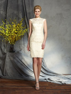 Sheath/Column Bateau Short Sleeves Short/Mini Elastic Woven Satin Mother of the Bride Dresses