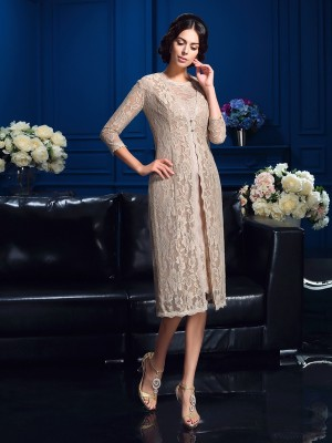 Sheath/Column Lace Scoop Sleeveless Knee-Length Taffeta Mother of the Bride Dresses