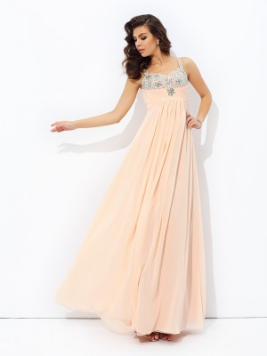 A-Line/Princess Beading Spaghetti Straps Sleeveless Floor-Length Chiffon Dresses