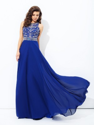 A-Line/Princess Beading Scoop Sleeveless Floor-Length Chiffon Dresses