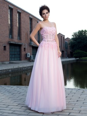 A-Line/Princess Applique Straps Sleeveless Floor-Length Net Dresses