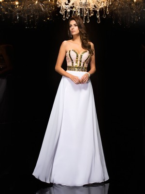 A-Line/Princess Sequin Sweetheart Sleeveless Floor-Length Chiffon Dresses