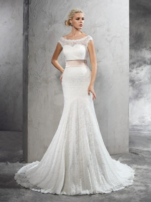 Sheath/Column Sash/Ribbon/Belt Sheer Neck Sleeveless Court Train Lace Wedding Dresses