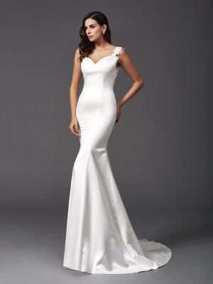 Trumpet/Mermaid Beading Straps Sleeveless Sweep/Brush Train Satin Wedding Dresses
