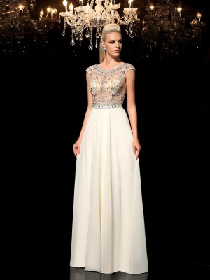 A-Line/Princess Rhinestone Sheer Neck Sleeveless Floor-Length Chiffon Dresses