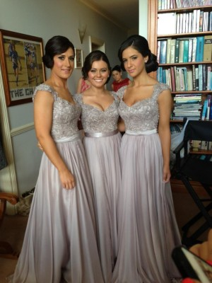 Sheath/Column Beading V-neck Short Sleeves Floor-Length Chiffon Bridesmaid Dresses