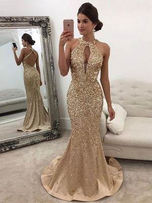 Trumpet/Mermaid Sequin Halter Sleeveless Sweep/Brush Train Satin Dresses