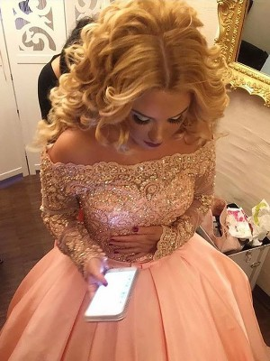 Ball Gown Beading Off-the-Shoulder Long Sleeves Court Train Satin Dresses