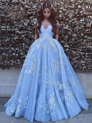 Ball Gown Applique Off-the-Shoulder Sleeveless Sweep/Brush Train Tulle Dresses