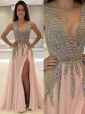 A-Line/Princess Beading V-neck Sleeveless Sweep/Brush Train Tulle Dresses
