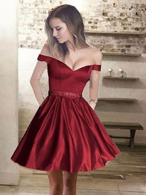 A-Line/Princess Beading Off-the-Shoulder Sleeveless Short/Mini Satin Dresses