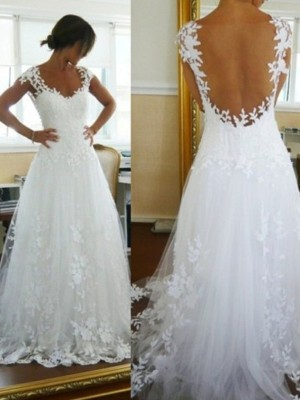 A-Line/Princess Lace V-neck Sleeveless Sweep/Brush Train Tulle Wedding Dresses