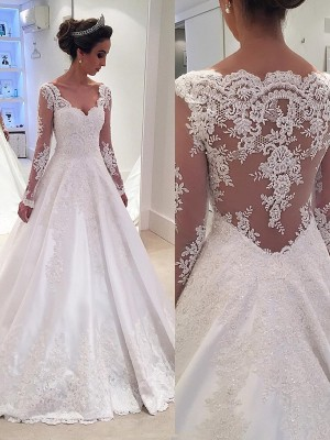 Ball Gown Lace V-neck Long Sleeves Court Train Satin Wedding Dresses