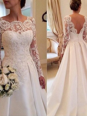 Ball Gown Lace Scoop Long Sleeves Court Train Satin Wedding Dresses