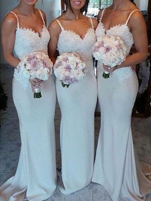 Sheath/Column Lace Sweetheart Sleeveless Sweep/Brush Train Satin Bridesmaid Dresses