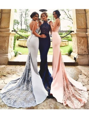 Trumpet/Mermaid Lace Halter Sleeveless Sweep/Brush Train Satin Bridesmaid Dresses