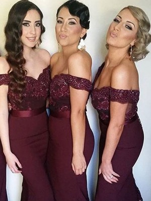 Sheath/Column Lace Off-the-Shoulder Sleeveless Sweep/Brush Train Satin Bridesmaid Dresses