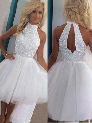 A-Line/Princess Beading Halter Sleeveless Short/Mini Tulle Dresses
