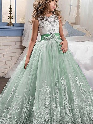 Ball Gown Lace Jewel Sleeveless Sweep/Brush Train Tulle Flower Girl Dresses